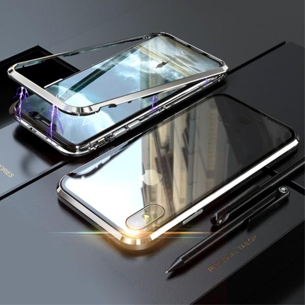 Μαγνητική Θήκη με Πλαίσιο Αλουμινίου και Πλάτη Tempered Glass για Apple iPhone XS Max - Silver