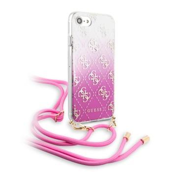 Θήκη Σκληρή Με Λουράκι Guess 4G Electroplated Cover για Apple iPhone SE/8/7 - Fuchsia