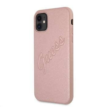 Θήκη Σιλικόνης Guess® PU Saffiano Vintage Script για Apple iPhone 11 - Rose Gold