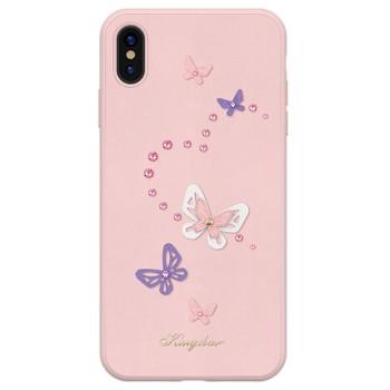 Σκληρή Θήκη Kingxbar Butterfly με Κρύσταλλα Swarovski για Apple iPhone XS/iPhone X- Pink