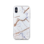 Θήκη Σιλικόνης Marble για Apple iPhone XS Max - White & Gold