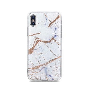 Θήκη Σιλικόνης Marble για Apple iPhone XS Max - White & Gold